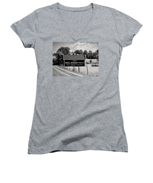 Women's V-Neck T-Shirt (Junior Cut) featuring the photograph Mail Pouch Barn by Mary Almond
