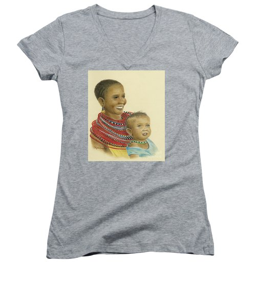 Masai Mom And Babe Women's V-Neck