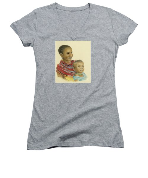 Masai Mom And Babe Women's V-Neck