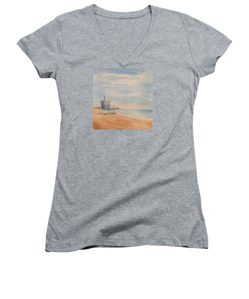 Morning By The Beach Women's V-Neck T-Shirt (Junior Cut) by Debbie Lewis
