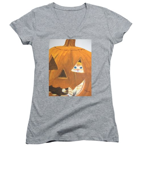 Women's V-Neck T-Shirt (Junior Cut) featuring the painting Peekaboo by Norm Starks