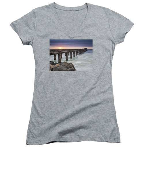 Pier At Sunset Women's V-Neck T-Shirt