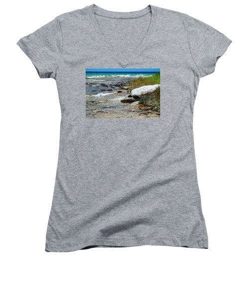 Women's V-Neck T-Shirt (Junior Cut) featuring the photograph Quiet Waves Along The Shore by Janice Adomeit