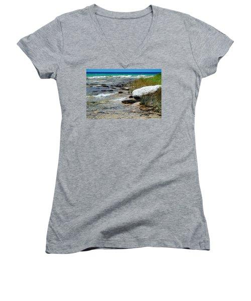 Quiet Waves Along The Shore Women's V-Neck T-Shirt (Junior Cut) by Janice Adomeit