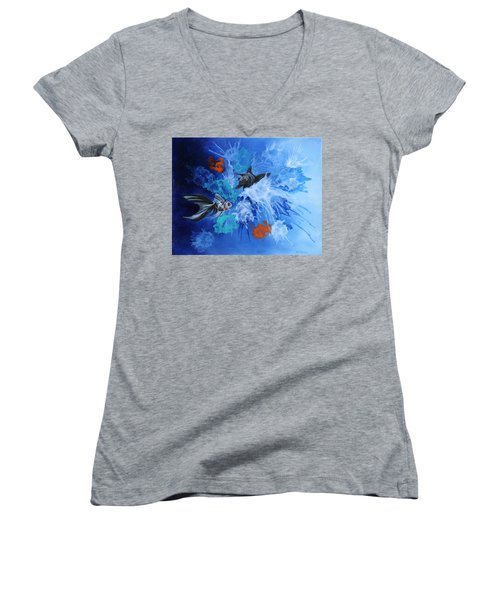 Women's V-Neck T-Shirt (Junior Cut) featuring the painting Richies Fish by Wendy Shoults
