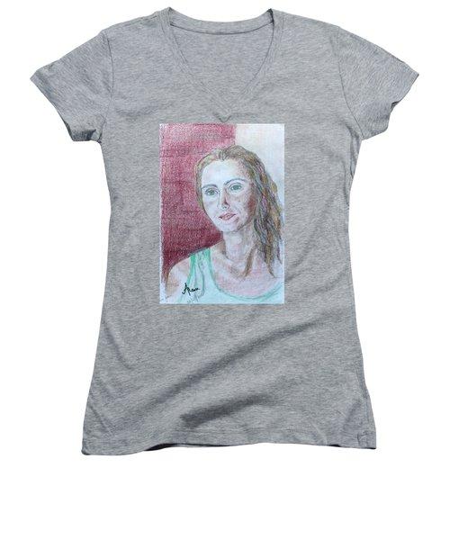 Women's V-Neck T-Shirt (Junior Cut) featuring the drawing Self Portrait by Anna Ruzsan