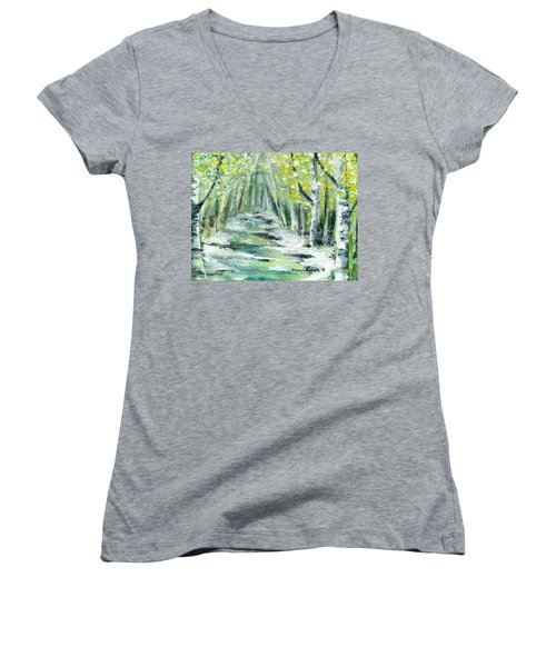 Women's V-Neck T-Shirt (Junior Cut) featuring the painting Spring by Shana Rowe Jackson