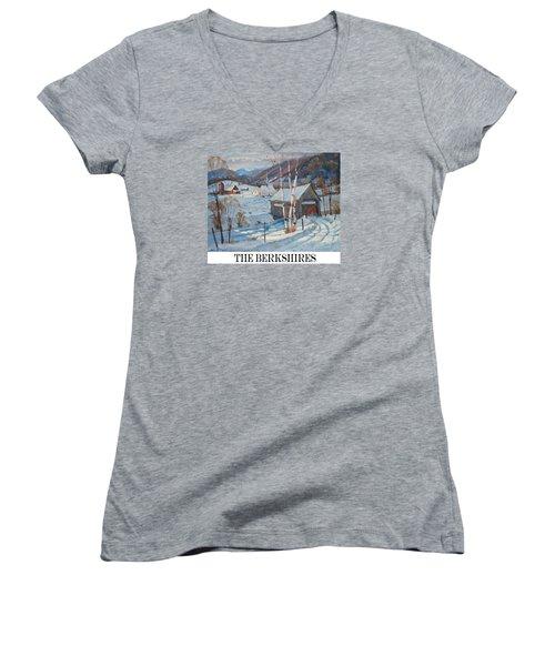 the Berkshires Women's V-Neck T-Shirt (Junior Cut) by Len Stomski
