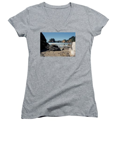 Women's V-Neck T-Shirt (Junior Cut) featuring the photograph Trinidad Beach by Sharon Elliott