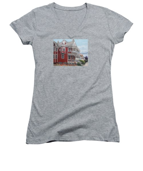 Victorian Afternoon Cape May Women's V-Neck T-Shirt (Junior Cut) by Barbara Barber