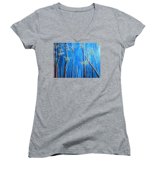 Women's V-Neck T-Shirt (Junior Cut) featuring the painting Waiting by Dan Whittemore