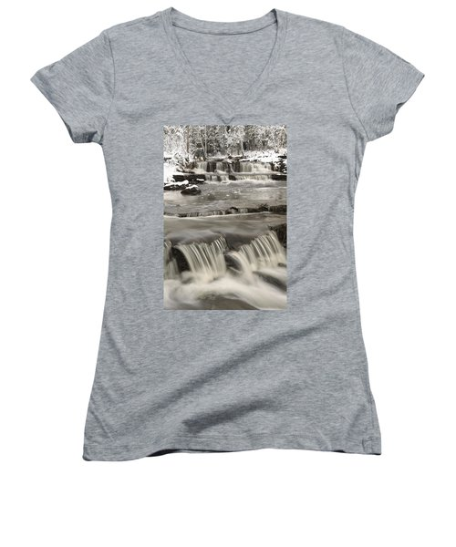 Waterfalls With Fresh Snow Thunder Bay Women's V-Neck T-Shirt