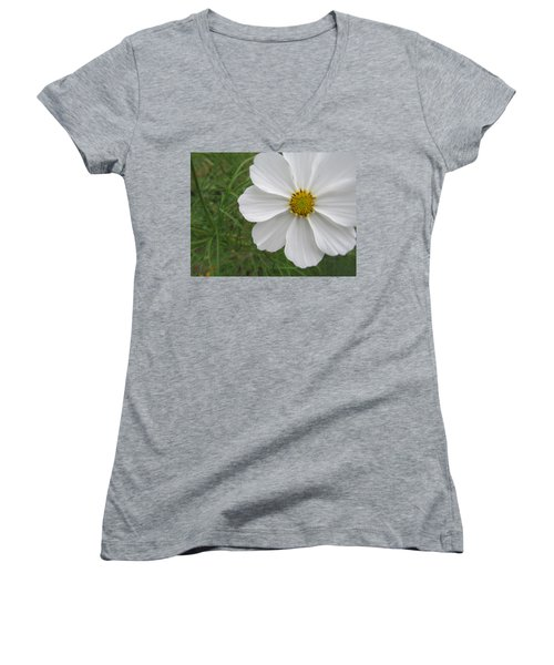 Women's V-Neck T-Shirt (Junior Cut) featuring the photograph White Beauty by Tina M Wenger