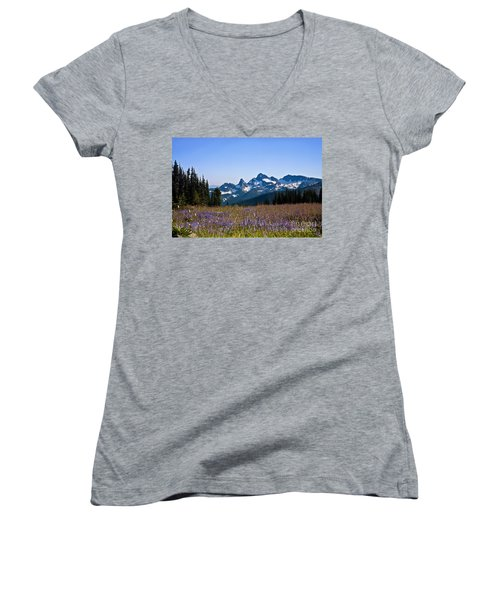 Wildflowers In The Cascades Women's V-Neck (Athletic Fit)