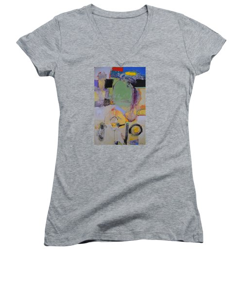 10th Street Bass Hole Women's V-Neck T-Shirt (Junior Cut) by Cliff Spohn
