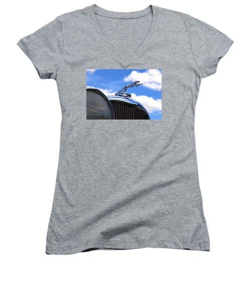 Women's V-Neck T-Shirt (Junior Cut) featuring the photograph 1932 Lincoln Kb Brunn Phaeton by Gordon Dean II