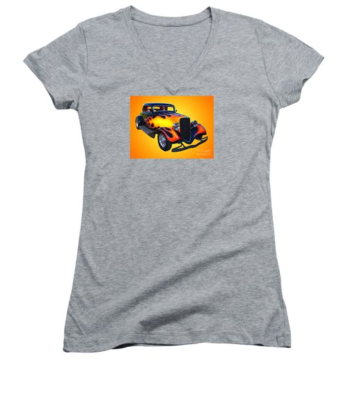 1934 Ford 3 Window Coupe Hotrod Women's V-Neck T-Shirt