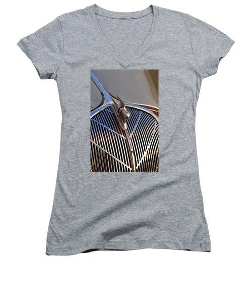 Women's V-Neck T-Shirt (Junior Cut) featuring the photograph 1936 Hudson Terraplane by Gordon Dean II