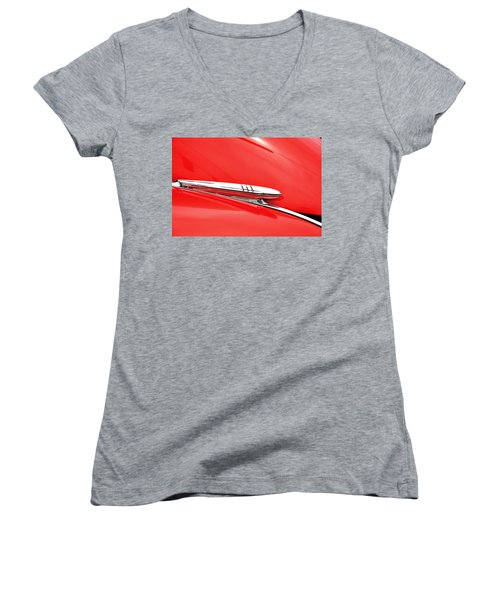Women's V-Neck T-Shirt (Junior Cut) featuring the photograph 1938 Chevy Hood Ornament by Paul Mashburn