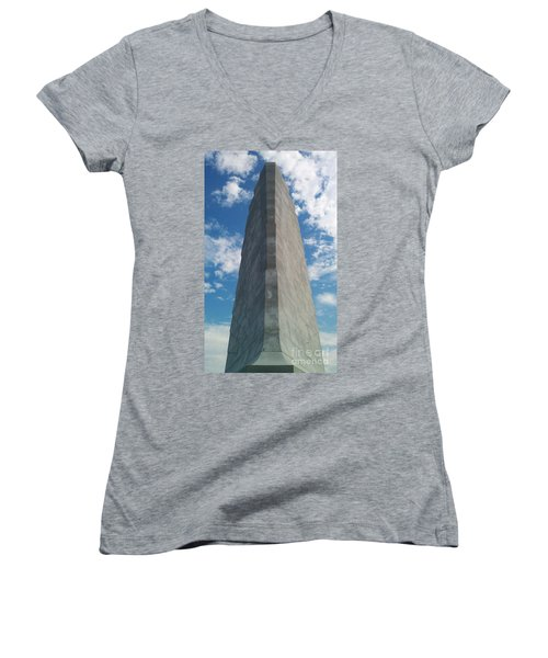 Wright Brothers Memorial Women's V-Neck T-Shirt (Junior Cut) by Tony Cooper