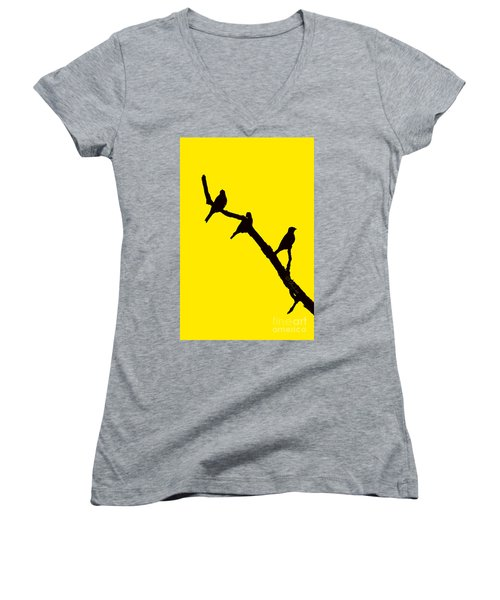 3 Birds On A Limb Women's V-Neck