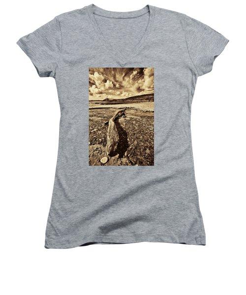 Women's V-Neck T-Shirt (Junior Cut) featuring the photograph Driftwood by Steve Purnell