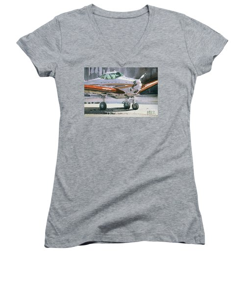 Women's V-Neck T-Shirt (Junior Cut) featuring the painting Private Plane by Donald Maier
