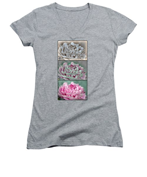 Peony Named Shirley Temple Women's V-Neck T-Shirt
