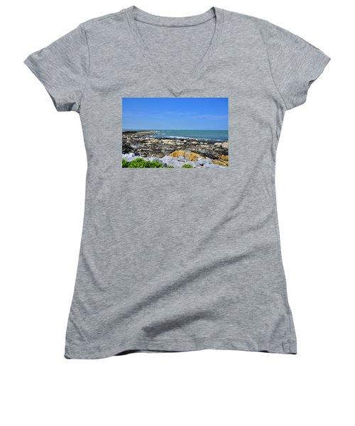 A Blue Skerries Sky Women's V-Neck T-Shirt (Junior Cut) by Martina Fagan