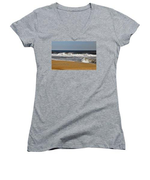A Brisk Day Women's V-Neck T-Shirt (Junior Cut) by Sarah McKoy