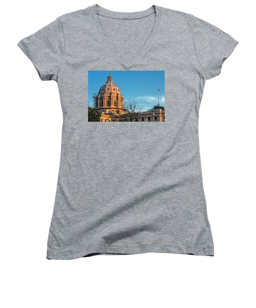 Women's V-Neck T-Shirt (Junior Cut) featuring the photograph A Capitol Evening by Tom Gort