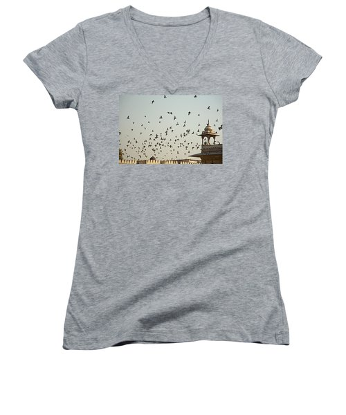 A Flock Of Pigeons Crowding One Of The Structures On Top Of The Red Fort Women's V-Neck T-Shirt (Junior Cut) by Ashish Agarwal