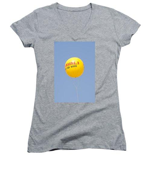 A Hot Air Balloon In The Blue Sky Women's V-Neck T-Shirt (Junior Cut) by Ashish Agarwal