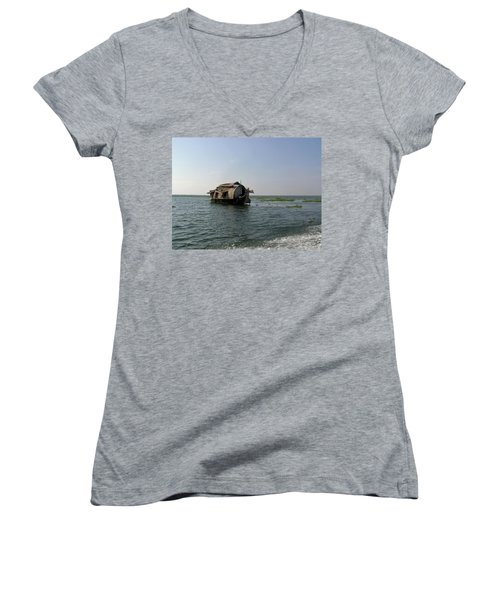 A Houseboat Moving Placidly Through A Coastal Lagoon In Alleppey Women's V-Neck T-Shirt (Junior Cut) by Ashish Agarwal