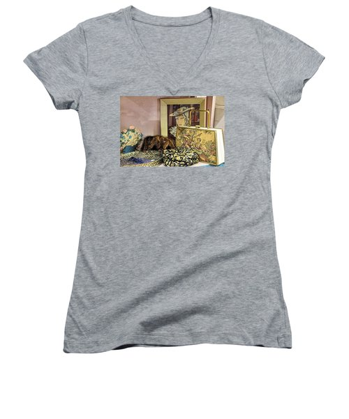 Women's V-Neck T-Shirt (Junior Cut) featuring the photograph A Little Romance II by Jan Amiss Photography
