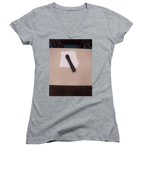 A Microphone On The Lectern Of A Presentation Room Women's V-Neck T-Shirt (Junior Cut) by Ashish Agarwal
