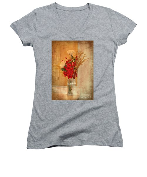 Women's V-Neck T-Shirt (Junior Cut) featuring the photograph A Rose By Any Other Name by Kathy Baccari