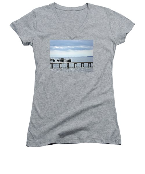A Stormy Day On The Pamlico River Women's V-Neck T-Shirt