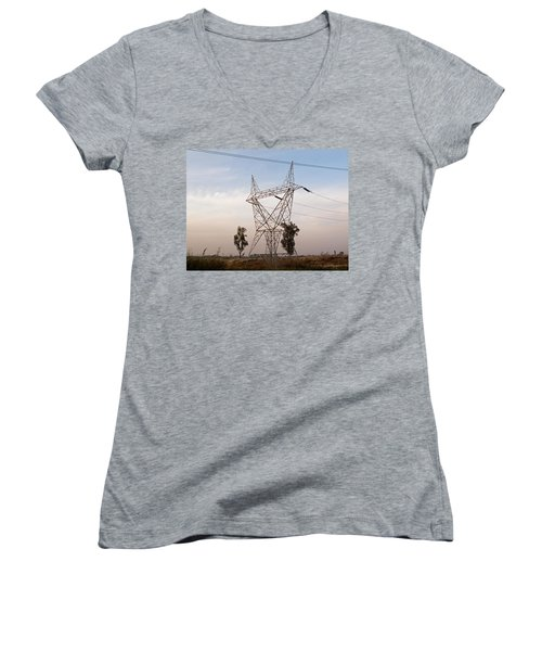 A Transmission Tower Carrying Electric Lines In The Countryside Women's V-Neck T-Shirt (Junior Cut) by Ashish Agarwal