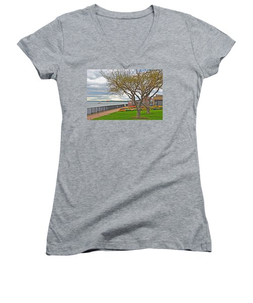 Women's V-Neck T-Shirt (Junior Cut) featuring the photograph A View From The Garden by Michael Frank Jr