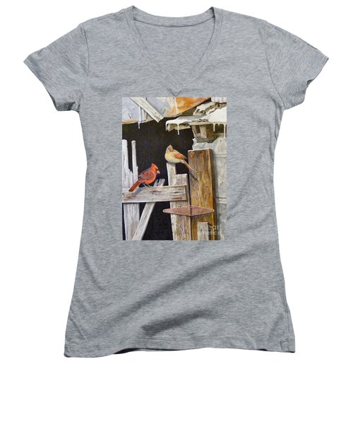 A Visit To Daddy's Barn  Sold Women's V-Neck