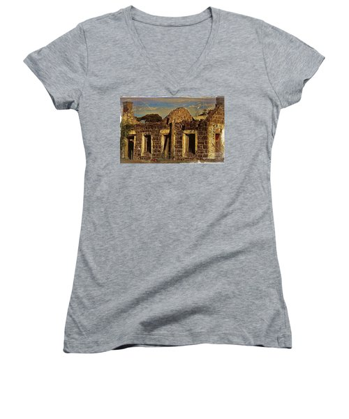 Women's V-Neck T-Shirt (Junior Cut) featuring the digital art Abandoned Farmhouse by Blair Stuart