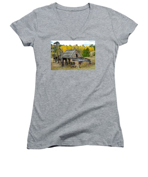 Abandoned Mine In Autumn Women's V-Neck T-Shirt