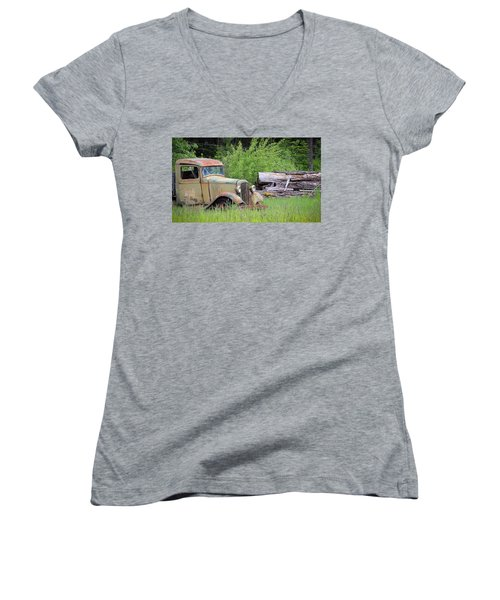 Women's V-Neck T-Shirt (Junior Cut) featuring the photograph Abandoned by Steve McKinzie