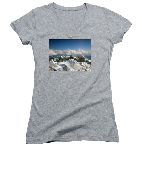 Women's V-Neck T-Shirt (Junior Cut) featuring the photograph Above Mckinley by Kay Lovingood