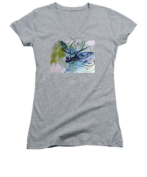 Abstract Dragonfly 10 Women's V-Neck