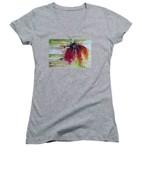 Women's V-Neck T-Shirt (Junior Cut) featuring the painting Abstract  Flower by Ismeta Gruenwald