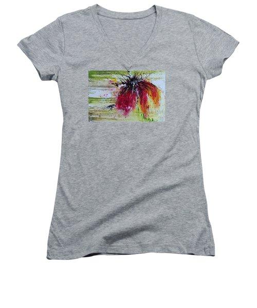 Abstract  Flower Women's V-Neck T-Shirt