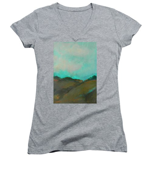 Abstract Landscape - Turquoise Sky Women's V-Neck (Athletic Fit)