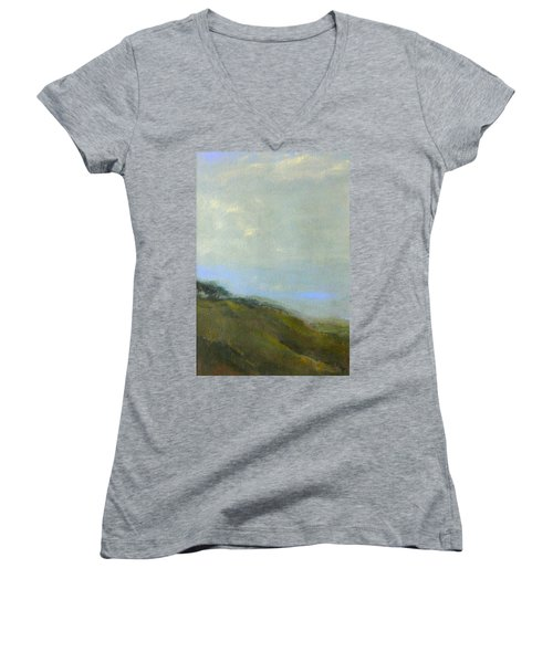 Abstract Landscape - Green Hillside Women's V-Neck (Athletic Fit)